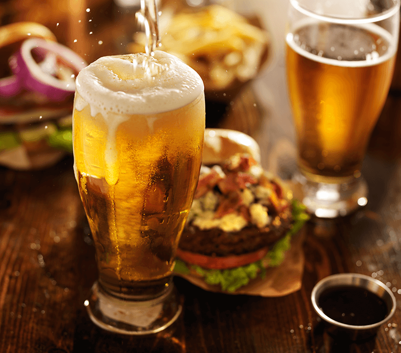 beer with hamburger